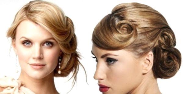 Нарядная прическа для средних волос фото