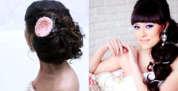свадебные прически на темные волосы с челкой фото