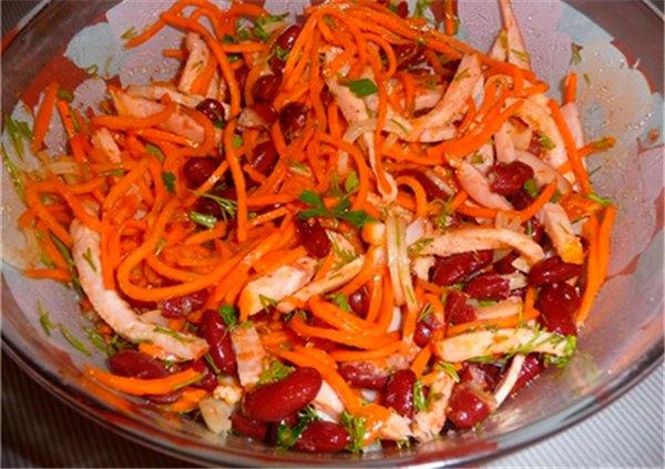 Салат из корейской моркови с фасолью - лучшие рецепты. Как правильно и вкусно приготовить салат с корейской морковью и фасолью